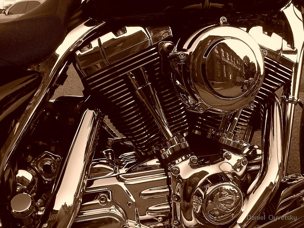 Harley Davidson Engine in Sephia by Daniel  Oyvetsky