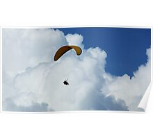 pilot paragliding in clouds Poster