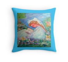 Little Girl Reading in the Garden by Marie -Jose Pappas Throw Pillow