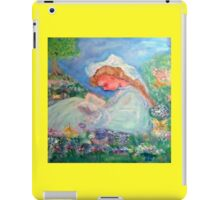 Little Angel on a Reindeer by Marie-Jose Pappas Yellow iPad Case/Skin