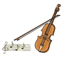 Violin And Musical Notes Photographic Print