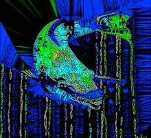 Caribbean Blue Parrot Fish Mosaic by Saundra Myles