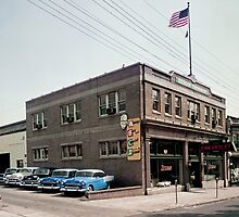 Degnan Chevrolet Auto Dealership Exterior 1950's by aladdincolor