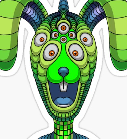 Usahgei Jiell Oczy - A Multi-eyed Rabbit-like Creature From Another Dimension Sticker