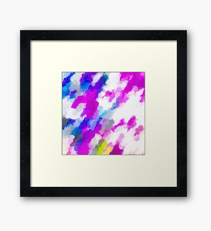psychedelic painting texture abstract in pink purple blue yellow and white Framed Print