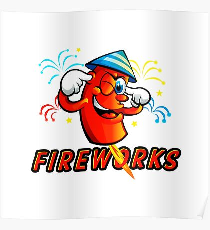 Red Cartoon fireworks Poster