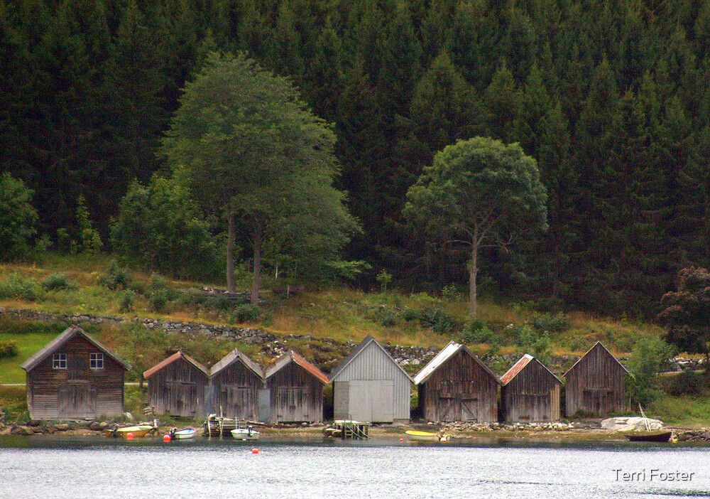 Little Boathouses All in a Row by Terri Foster