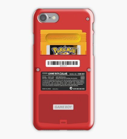 Red Gameboy Color - Back Side - Pokemon Yellow iPhone Case/Skin