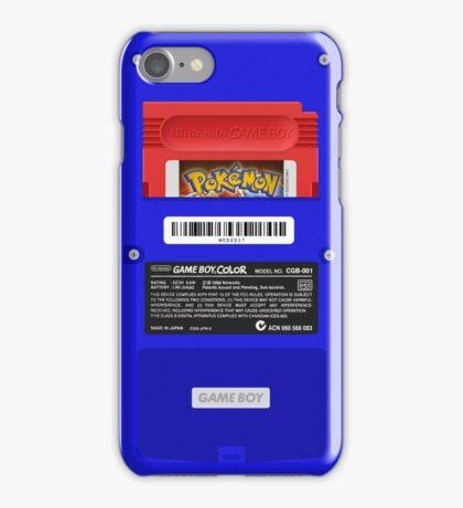 Blue GameBoy Color Back - Pokemon Red iPhone Case/Skin