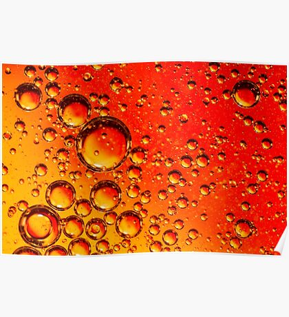 Red and Orange Coloured Oil on Water Abstract Poster