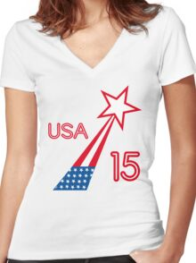 USA STAR Women's Fitted V-Neck T-Shirt