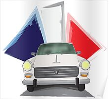 Illustration of a White Peugeot 404 with the French Flag Behind Poster