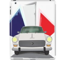 Illustration of a White Peugeot 404 with the French Flag Behind iPad Case/Skin