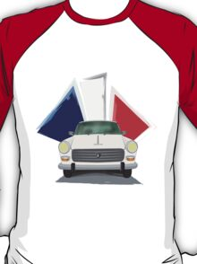 Illustration of a White Peugeot 404 with the French Flag Behind T-Shirt