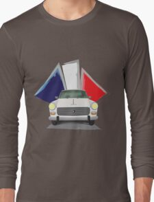 Illustration of a White Peugeot 404 with the French Flag Behind Long Sleeve T-Shirt