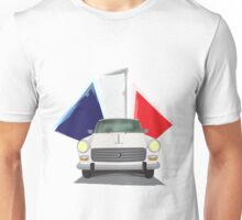 Illustration of a White Peugeot 404 with the French Flag Behind Unisex T-Shirt