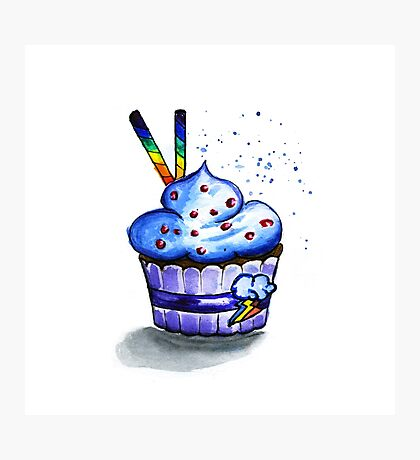 Cake with waffles. Watercolor painting Photographic Print