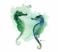 Seahorses art print watercolor painting, sea horse artwork by Joanna Szmerdt
