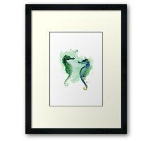 Seahorses art print watercolor painting, sea horse artwork Framed Print