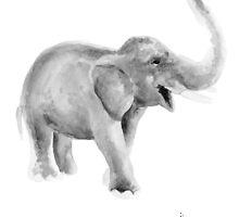 Elephant watercolor art print painting, gray elephant artwork by Joanna Szmerdt