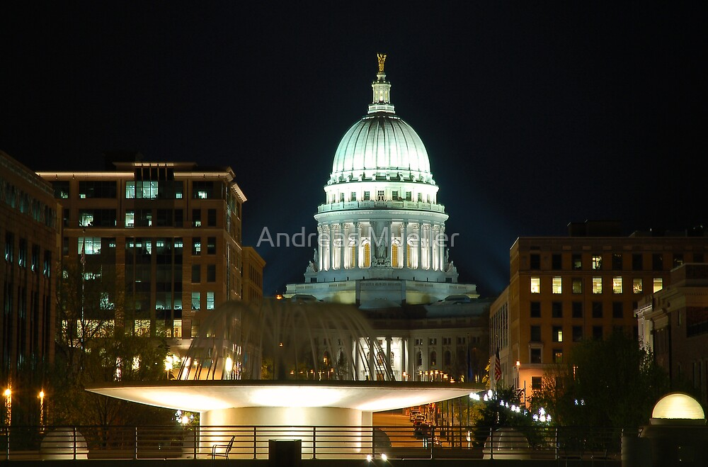 Madison State Capitol by Night by Andreas Mueller