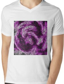 psychedelic geometric painting abstract in pink purple white and black Mens V-Neck T-Shirt