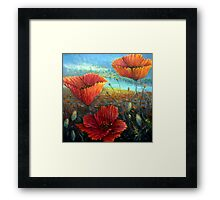 Three Poppies Provence, France Square Framed Print