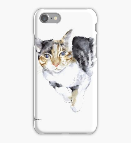 Cat painting watercolor art print, cat large poster iPhone Case/Skin