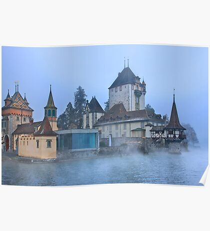 Oberhofen castle floating in the mist Poster