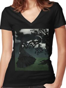Woman in black 2 Women's Fitted V-Neck T-Shirt