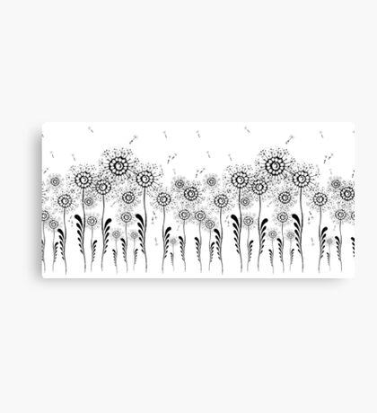 Flowers dandelion. Black and white illustration Canvas Print
