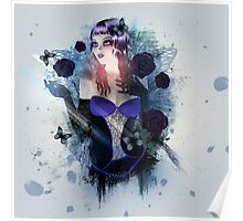 Abstract background with gothic girl Poster