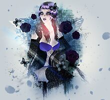 Abstract background with gothic girl 3 by AnnArtshock