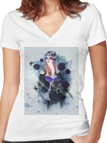 Abstract background with gothic girl 3 Women's Fitted V-Neck T-Shirt