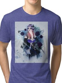 Abstract background with gothic girl 3 Tri-blend T-Shirt