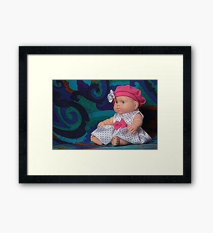 puppet polka dot dress sitting Framed Print