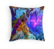 Fluid Blue Throw Pillow