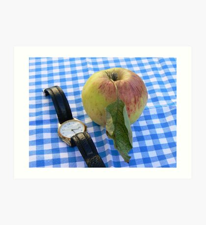apple time sitting on a blue and white checkerd back ground Art Print
