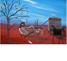 Ned Kelly   Im first   BATH TIME RUSH by LynnePickeringArt