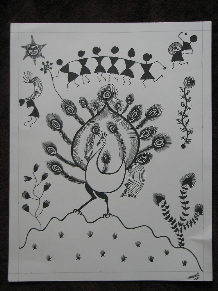 Peacock-Warli-Folk Art-Tribal painting from India by ampar81