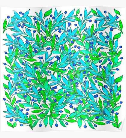 Watercolor hand drawn colorful leaves. Floral illustration. Poster