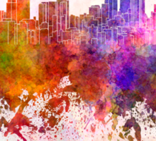 Pittsburgh skyline in watercolor background Sticker