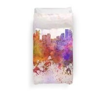 Pittsburgh skyline in watercolor background Duvet Cover