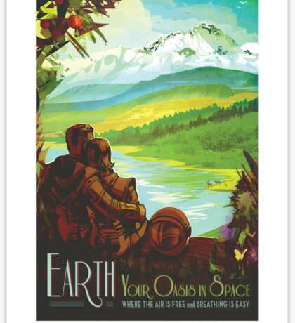 Space Travel Poster - Earth Sticker