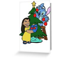 Happy Lilo and Stitch with christmas tree Greeting Card