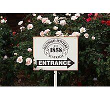 Bendigo Pottery Entrance Sign Photographic Print