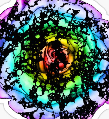 Rainbow Splatter Rose Sticker