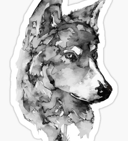 Grey Wolf Watercolor Sticker
