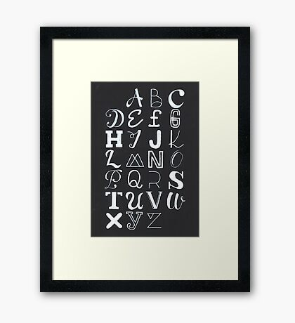 Alphabet typography Framed Print