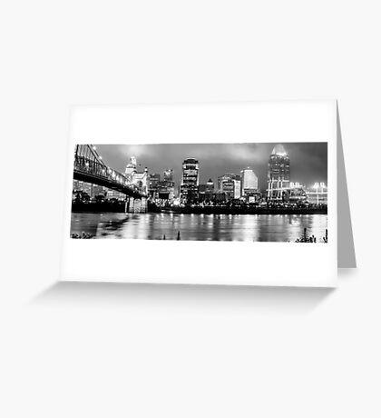 Cincinnati Downtown Skyline Panorama Black and White Greeting Card
